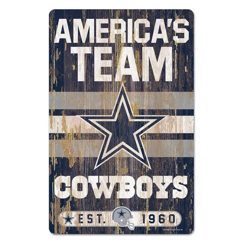 "Dallas Cowboys Slogan 11"" x 17"" Wood Sign"