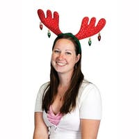 Club Pack of 12 Red and Green Christmas Antler Holiday Headbands