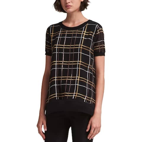 DKNY Womens Pullover Top Embellished Plaid
