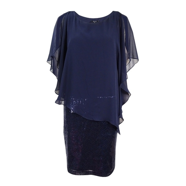 9739c9498ab9 Shop MSK Women's Plus Size Sequined Chiffon-Overlay Dress - Navy - Free  Shipping On Orders Over $45 - Overstock - 18303242