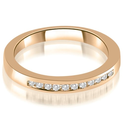 0.15 cttw. 14K Rose Gold Classic Channel Round Cut Diamond Wedding Band