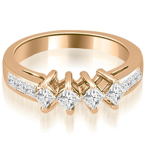 1.35 cttw. 14K Rose Gold Channel Set Princess Cut Diamond Wedding Band