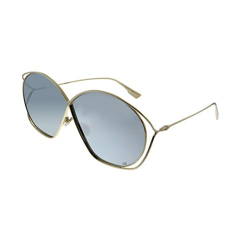 Dior CD Stellaire2 83I 0T Womens Gold Frame Silver Mirror Lens Sunglasses