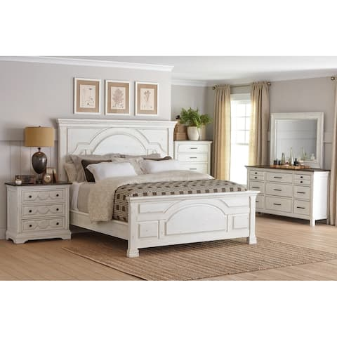 Danica Vintage White 5-piece Bedroom Set with Two Nightstands