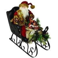 "30"" Elegant Crushed Velvet Santa Claus in Black Leather Sleigh Christmas Figure - multi"