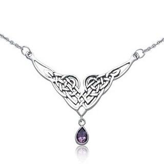 Celtic Silver Necklace Amethyst Teardrop Necklace - Purple