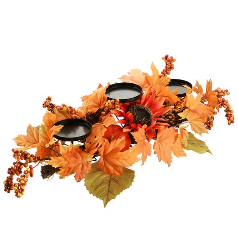 24 inch Harvest Maple Leaf Candleholder - 24""