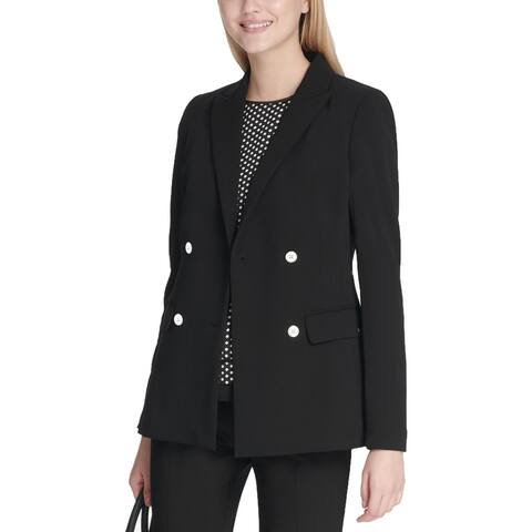 Calvin Klein Womens Blazer Double-Breasted Dressy - Black