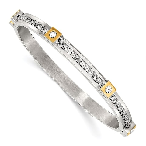 Chisel Stainless Steel Polished Yellow IP-plated with Preciosa Crystal Hinged Bangle