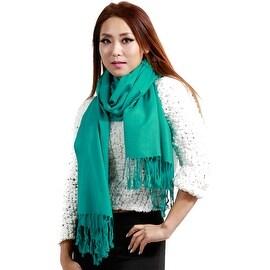 """Fringed Pashmina Silk Large Scarf, 27""""x72"""", Green"""