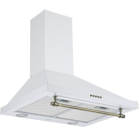 Ancona Vintage Style 24 in. Convertible Wall Pyramid Range Hood, White