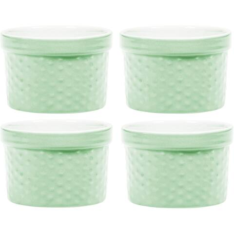 Palais Dinnerware Ramekins Collection Porcelain Soufle Dishes (6 Oz - Set of 4, Mint Green - Dots Finish)
