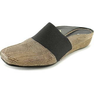 Vaneli Gilda Women Round Toe Suede Brown Mules