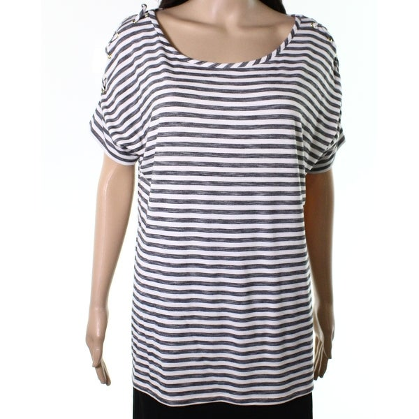 Belldini White Womens Large Striped Lace Up Knit Top