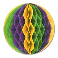 """Club Pack of 24 Green, Yellow and Purple Honeycomb Hanging Tissue Ball Decorations 12"""" - Green"""
