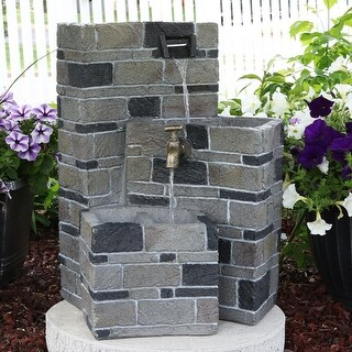 Sunnydaze 3-Tier Brickwork Outdoor Fountain with Spigot 23-Inch Tall