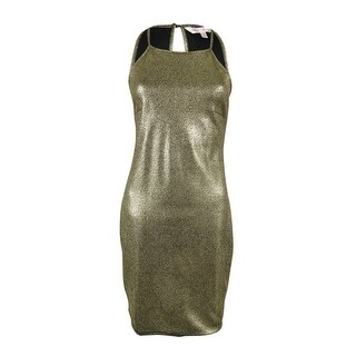 Marilyn Monroe Juniors' Metallic Halter Dress - Gold