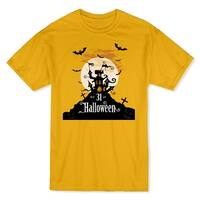 Haunted House Oct 31st Halloween Men's Gold T-shirt