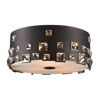 "PLC Lighting 81393 3 Light 14"" Wide Outdoor Flushmount Ceiling Fixture from the Twilight Collection - Black"