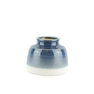 Round decorative Ceramic Vase in Dual Tone, Blue and White