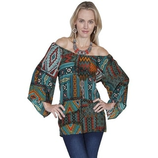 Scully Western Shirt Womens Long Sleeve Patch Print Tunic E246
