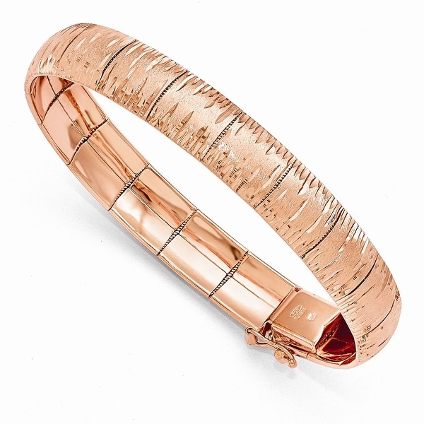 Italian Sterling Silver Rose Gold-plated Diamond Cut Scratch-Finish Bracelet - 7.5 inches