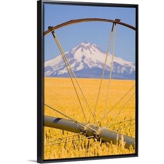 """View of Mount Hood through farming equipment, Oregon, USA"" Black Float Frame Canvas Art"