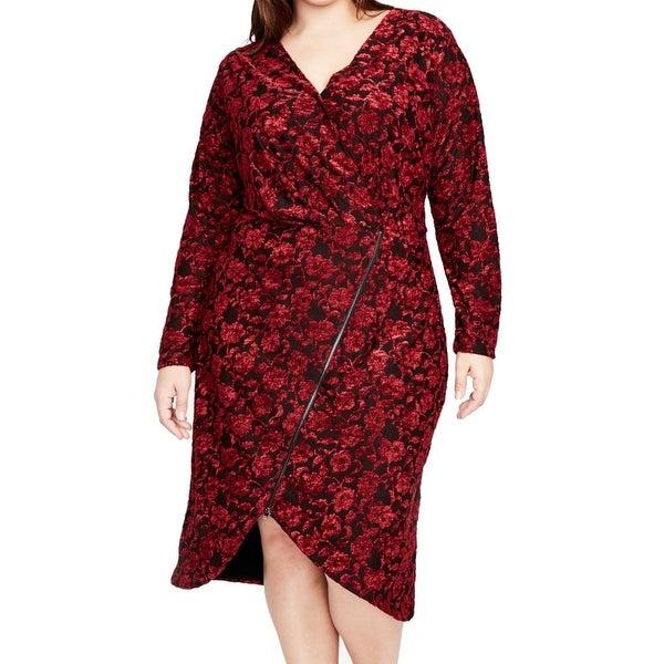 RACHEL Rachel Roy Red Women's Size 3X Plus Floral Sheath Dress