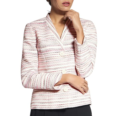 Basler Womens Three-Button Blazer Metallic V-Neck - Pink Multi