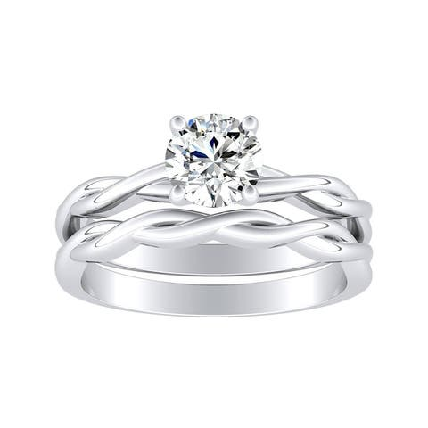 Lab Grown 1/2ct Twisted Solitaire Diamond Engagement Ring Set 14k Gold by Ethical Sparkle