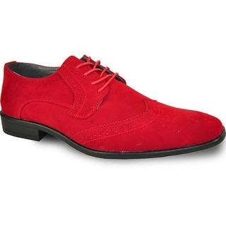 BRAVO Men Dress Shoe KING-3 Wingtip Oxford Shoe Red - Wide Width Available
