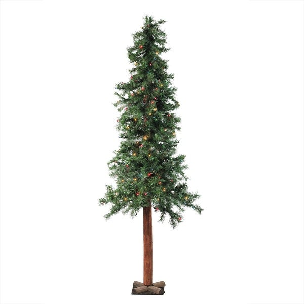 "7' x 40"" Pre-Lit Traditional Woodland Alpine Artificial Christmas Tree - Multi Lights"