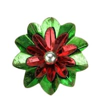 """2.75"""" Distressed Shiny Green, Red and Silver Flower Clip-On Christmas Tree Ornament - green"""