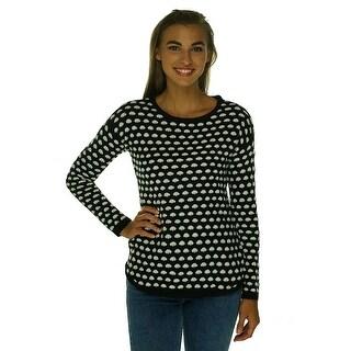 Maison Jules Polka Dot Long Sleeve Pullover Sweater - S