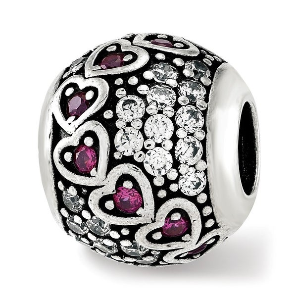 Sterling Silver Reflections CZ & Red Corundum Hearts Bead (4.5mm Diameter Hole)