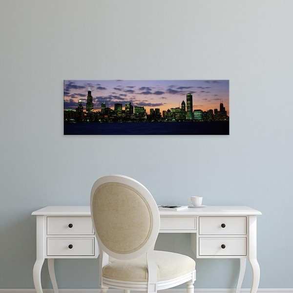Easy Art Prints Panoramic Images's 'Buildings in a city at dusk, Chicago, Illinois, USA' Premium Canvas Art