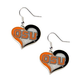 Oregon State Beavers Swirl Heart Dangle Logo Earring Set Charm Gift NCAA