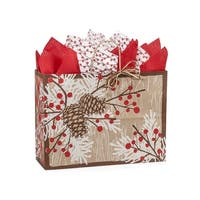 "Pack of 250, Vogue Woodland Berry Pine Paper Bags 16 X 6 X 12"" 100% Recyclable, Made In Usa"