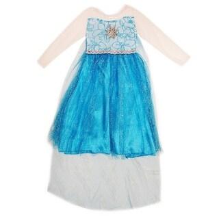 Wenchoice Girls Blue Glitter Princess Elsa Halloween Dress