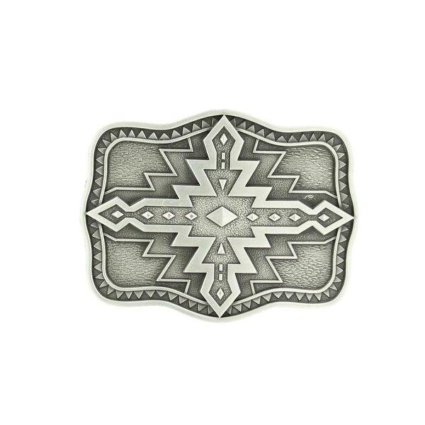 Nocona Western Belt Buckle Scalloped Aztec Silver Black - 2 3/4 x 3 1/4