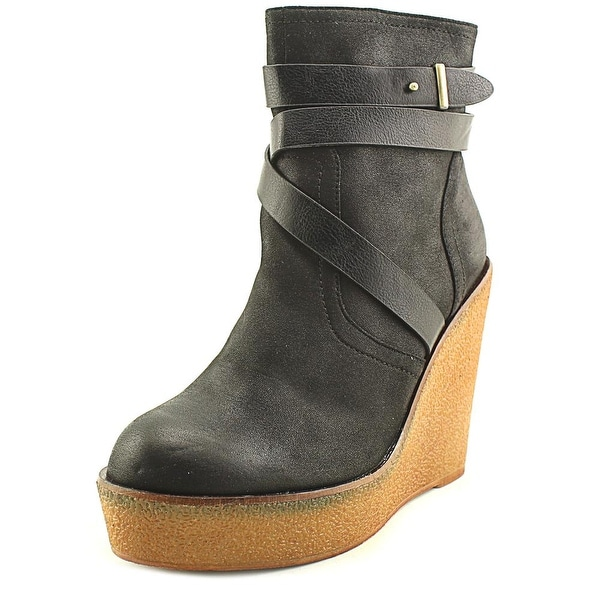 Olivia Miller OMP Women Round Toe Leather Black Ankle Boot