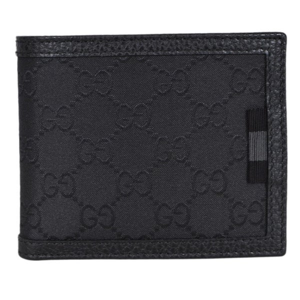 f1c067ea5fb Gucci Men  x27 s 260987 Black Nylon Web Detail GG Guccissima Bifold Wallet