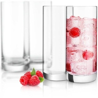 Link to JoyJolt Stella Non-Leaded Crystal High Ball Glasses, 14.2 Oz Set of 4 Tumbler Drinking Glasses Similar Items in Glasses & Barware