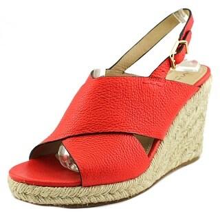Via Spiga Rosette Open Toe Leather Wedge Sandal