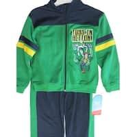 Disney Baby Boys Green Toy Story Themed Print Zipper Striped 2 Pc Pants Set 4-7
