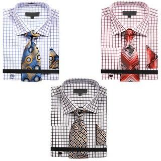 Men's Square Pattern Matching Collar Dress Shirt with Tie Handkerchief and Cufflinks