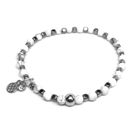 "White Sterling Silver Friendship 7"" Bracelet"