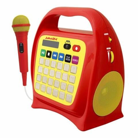 Juke24 Digital Jukebox With CD Player & Karaoke - Red/Yellow