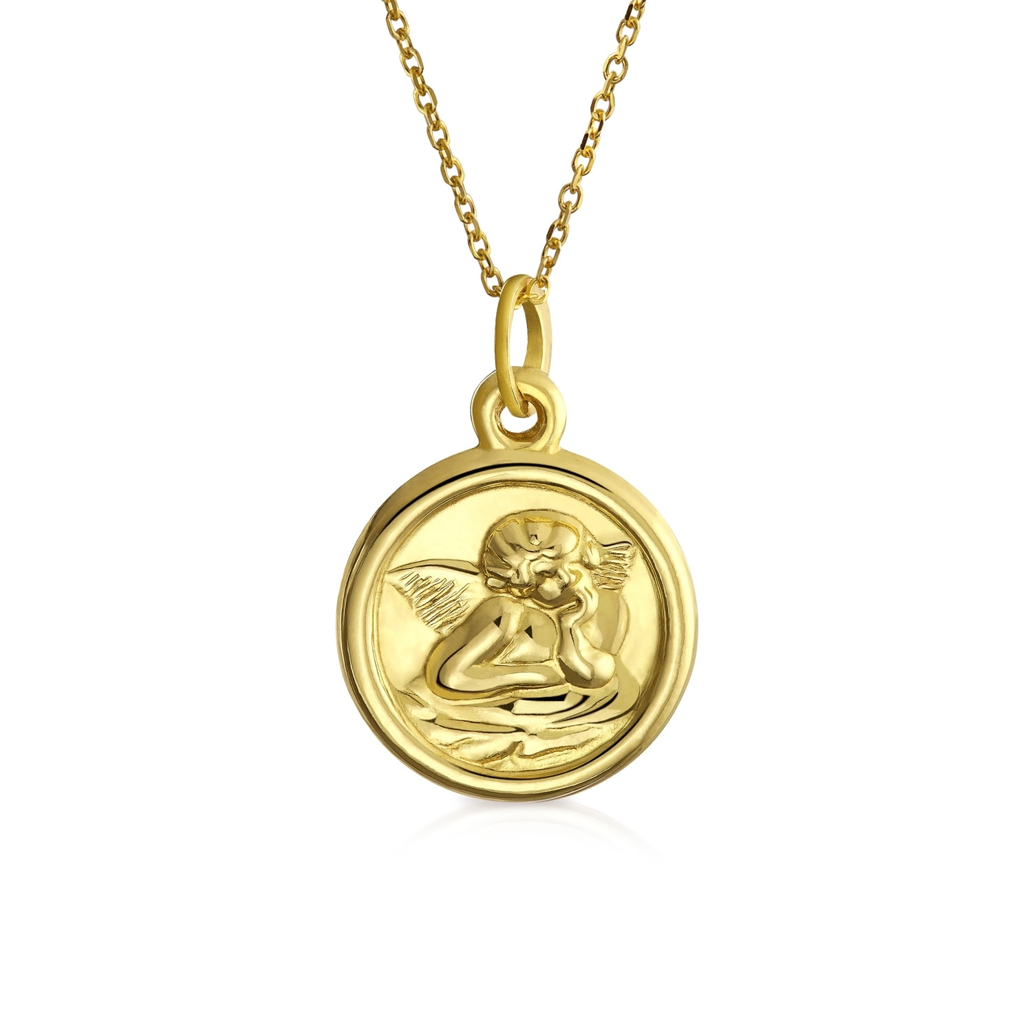 14K Yellow Gold Angel Pendant on an Adjustable 14K Yellow Gold Chain Necklace