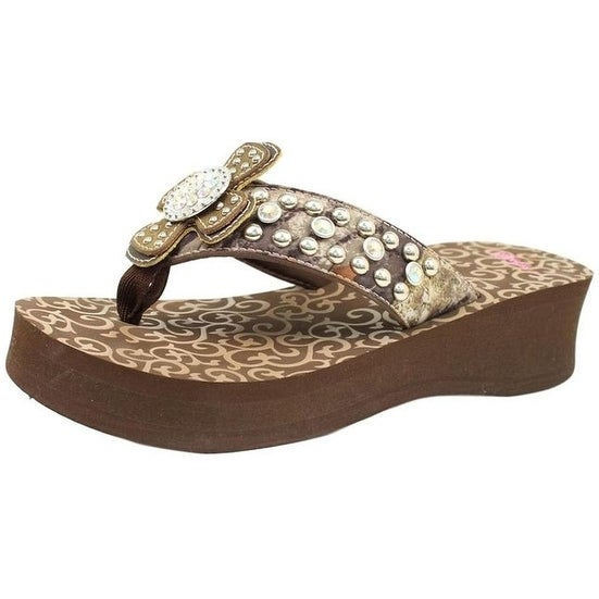 Blazin Roxx Western Shoes Womens Tina Flip Flops Cross Brown